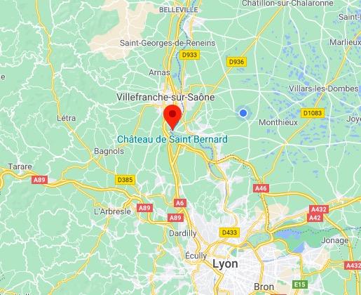 carte Lyon - Villefranche sur Saone - Saint Bernard
